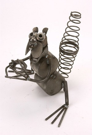 Squirrel With Nut Metal Sculpture
