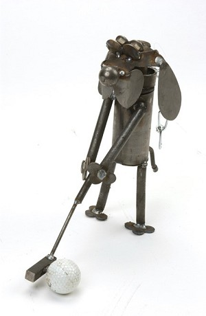 Golfer Dog Sculpture