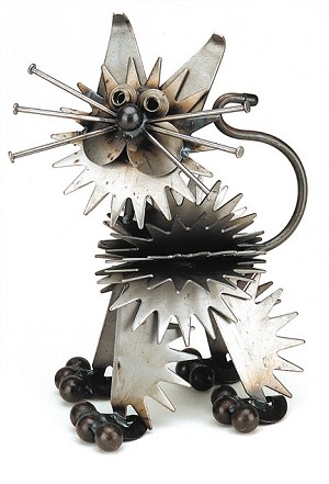 Fluffy Metal Kitten Sculpture